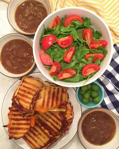 Frico Grilled Cheese French Onion Soup Arugula Salad and olives on a rainy night #weerecipes  by weelicious