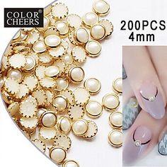 200pcs+beige+parel+metalen+tafelblad+nail+art+decoraties+4mm+–+EUR+€+3.91