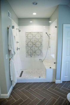 25 Awesome Farmhouse Bathroom Tile Shower Ideas (Walk In Shower Room Floor & Walls) tile ideas farmhouse Bathroom Tile Designs, Bathroom Renos, Bathroom Renovations, Bathroom Interior, Bathroom Ideas, Bathroom Inspo, Decorating Bathrooms, Bathroom Makeovers, Boho Bathroom