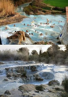 Saturnia, Italy it looks so nice being in those warm and healing waters. Places Around The World, Oh The Places You'll Go, Places To Travel, Places To Visit, Around The Worlds, Dream Vacations, Vacation Spots, Saturnia Italy, Wonderful Places