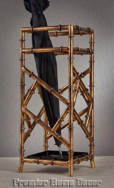 Tuscan Antique Gold Iron Bamboo Design Umbrella Stand