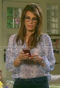 Hope's blue snake print blouse on Days of our Lives.  Outfit Details: https://wornontv.net/58266/ #DaysofourLives