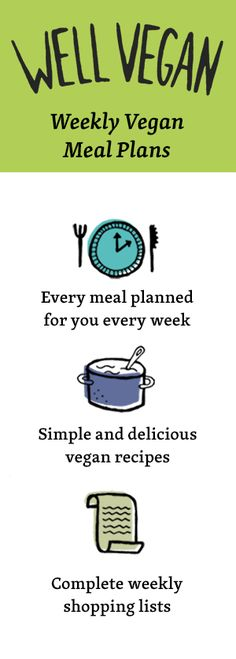 Get Started. Make Healthy Easy. Weekly vegan meal plans and shopping lists to make following a healthy, plant‑based diet easy.