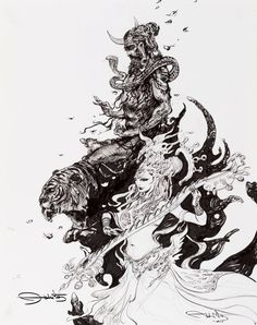 Shiva Shakti Love in dance. Black and white ink painting on paper by Abhishek Singh Indian Artist Arte Shiva, Shiva Art, Hindu Art, Shiva Shakti, Durga Kali, Lord Shiva Sketch, Shiva Tattoo Design, Shiva Lord Wallpapers, Hindu Deities