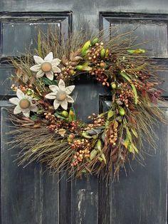 Primitive Sunflower Wreath  Fall Wreaths  Outdoor by Designawreath, $55.95