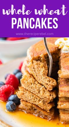 These fluffy Whole Wheat Pancakes are healthy and delicious! They're freezer friendly and great for easy breakfasts or school lunches. #pancakes #breakfast #recipe | breakfast recipe | healthy breakfast | pancakes | healthy lunch Healthy Breakfast Recipes, Summer Dessert Recipes, Quick And Easy Breakfast, Sweet Breakfast, Brunch Recipes, Breakfast Ideas, Healthy Recipes, Breakfast Pancakes, Crepes And Waffles