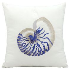 Showcasing a cool-hued shell design, this pillow lends a touch of coastal charm to your living room sofa or loveseat.  Product: ...