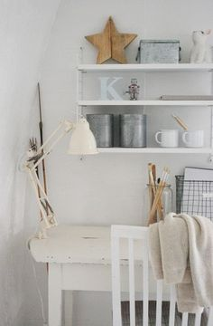 Country Accessories, White home office, Relaxing, Rustic. Office Color Schemes, Home Office Colors, Workspace Inspiration, Interior Inspiration, Minimal Home, Contemporary Office, Cozy House, Decoration, Interior Design