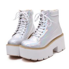 Womens-Metallic-Shiny-Lace-Ups-Cleated-Sole-Platform-Punk-Ankle-Boots-Booties