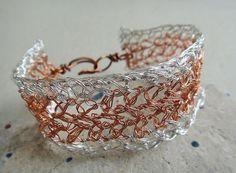 Crochet Bracelet - Copper wire, Silver wire, Cuff bracelet, crochet jewelry (B16) via Etsy