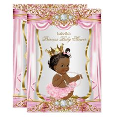 303 best princess baby shower invitations images on pinterest in ethnic princess baby shower pink silk gold invitation filmwisefo