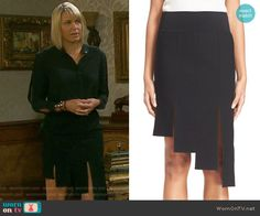 Nicole's black asymmetrical skirt on Days of our Lives. Outfit Details: https://wornontv.net/60488/ #DaysofourLives