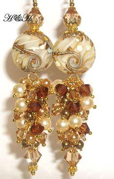 ** Golden Lampwork And Crystal Crystal Beaded Earrings @hhjewelrydesigns