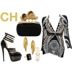 CH by ninahudson on Polyvore featuring moda, Christian Louboutin, Alexander McQueen, LeiVanKash, Forever 21, Ringly and Balmain
