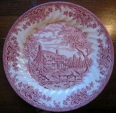 Decorative Dishes - Red Pink Toile Transferware Cottage Brook Leaves Plate L $29.99 ( & Sage Green Brown Toile Horse Girl Hat Vintage Plate | Vintage plates ...