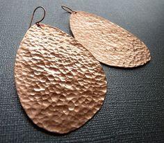 Large Hammered Copper Earrings by Jazjewelz on Etsy, $25.00