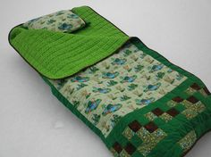 Child's Quilted Sleeping Bag Spring Up Frogs by ASeasonForQuilting, $175.00