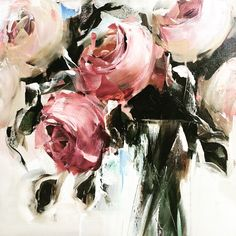 Roses Commission Nicole Pletts Nicoleplettsfineart.com #nicolepletts #nicoleplettsfineart #pinkroses Abstract Flowers, Watercolor Flowers, Watercolor Paintings, Ouvrages D'art, Art Et Illustration, Arte Floral, Botanical Art, New Art, Painting & Drawing
