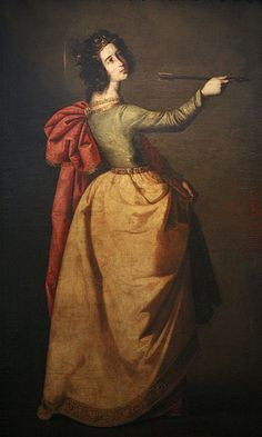 Saint Ursula, Francisco de Zurbaran - martyre chrétienne légendaire honorée à Cologne. Ursule est l'une des onze, ou onze mille, vierges massacrées par les Huns lors de son retour de Rome.Au milieu du XIIe siècle, des habitants de Cologne, creusant les fondations d'un bâtiment, tombent sur des ossements déclarés reliques des fameuses vierges. Ursule devient la sainte patronne des jeunes filles. Le jour traditionnel de sa fête, le 21 octobre, ne figure plus dans le calendrier catholique.