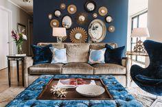transitional-living-room inspiration condo ideas silver velvet navy blue cuch mirror gallery wall shop room ideas grouping pillow arrange