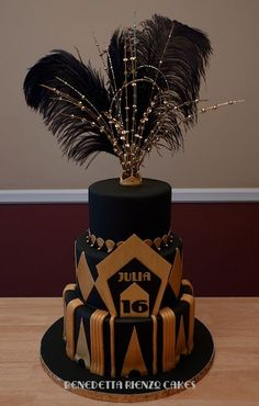 Great Gatsby Sweet 16 Cake – Happy Sweet 16 Julia! This is a cake I made for one of my friend's for her daughter's 16th birthday party. She had an amazing Great Gatsby Theme. The original design is by Julie Head of Let Them Eat Cake/juliequeen77 on Fl  | followpics.co