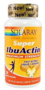 Solaray Super IbuActin 60 capsules. by Solaray. Save 43 Off!. $20.67. Solaray - IbuActin, Super 60ct. Super IbuActin by Solaray 60 VegCap Super IbuActin 60 VegCap Maximum Formula made to deliver twice the alpha and iso alpha acids in fast acting liquid capsules. Suggested Use As a dietary supplement Take two vegetarian liquid capsules with meal or glass of water. - Or as directed by your healthcare professional. Supplement Facts Serving Size 2 Vegetarian Liquid Capsules Servings Per...