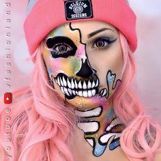 Calavera Rosa Maquillaje Pastel pink Skull Makeup Halloween SÍGUEME EN YOUTUBE! ♥ VFashionland