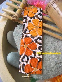 Bracelet Miyuki - Leopard Fleuri - weaving peyote
