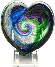 Celebration Ashes Heart (Green/Aqua/Purple/Gold) Cremation Ash Glass Memorials www.celebrationashes.com