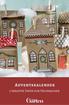 Five creative advent calendar ideas for young and old – without doors and just to emulate them. Be inspired and make your loved one a very special advent calendar this year. Advent Calenders, Diy Advent Calendar, Countdown Calendar, Diy Christmas Garland, Diy Garland, Christmas Crafts, Diy Presents, Diy Gifts, Diy For Kids