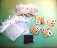 Sale- 50-200 WEDDING FAVOR Love Magnets, Christmas, Scrabble, Magnet, Love, Wedding Favor, Party Favor, Refrigerator Magnet, Gifts, Wedding