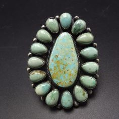 HUGE Signed NAVAJO Sterling Silver & TURQUOISE Cluster RING, size 9.75, 41.9g