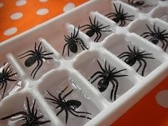 Spider Ice Cubes | Freeze spider rings in ice cubes for a cute Halloween party decoration