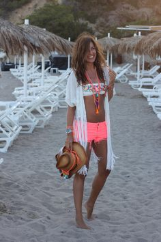 White kimono with neon shorts - nice change from the usual black floral