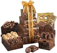 Broadway Basketeer Gourmet Chocolate Gift Tower #xmass #xmas         Great gourmet gift basket for birthday, thank you, anniversary, or any occasion.      Perfect gift basket for family and friends, or as a corporate office gift.      Gift tower includes: Enrobed sandwich cookies, Chocolate covered Bavarian pretzels, peanut butter cups, chocolate chip cookies, butter crunch toffee, a gift box of Belgian truffles, and much more.      Gift basket dimensions: 6 x 6 x 13 high