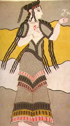 Minoan woman with flowers in wall mural