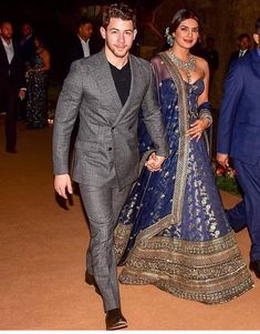 Priyanka Chopra And Nick Jonas Look Like A Dream As They Host Their Wedding Reception In Mumbai - HungryBoo Bollywood Couples, Bollywood Fashion, Bollywood Wedding, Bollywood Hair, Movies Bollywood, Bollywood Theme, Bollywood Outfits, Bollywood Jewelry, Bollywood Stars