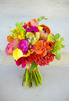 Wedding Trends: 2014 Flowers - orange, yellow, hot pink and green bouquet