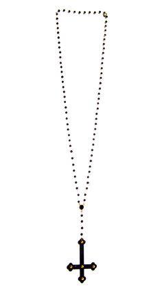 Hail Satan Inverted Cross Rosary Necklace. $20.00, via Etsy.
