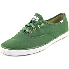 Keds Keds Ch Ox Women Round Toe Canvas Green Sneakers | Bluefly.Com ($25) ❤ liked on Polyvore featuring shoes, sneakers, green, short heel shoes, round toe sneakers, canvas sneakers, synthetic shoes and grip shoes