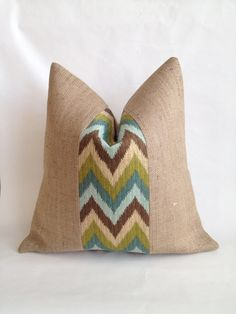 Brown Teal Tan Blue and Green Chevron by BouteilleChic on Etsy, $28.00