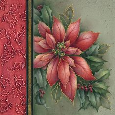 Wow! This poinsettia by Brenda Stewart has a border of textured holly.