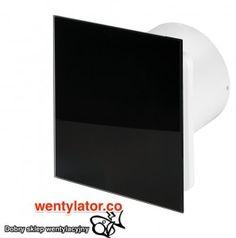 Czarny wentylator łazienkowy 100 standard Szkło połysk