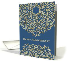 Happy Employee Anniversary, Gold Effect, Blue card