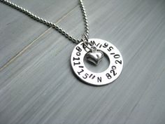 Latitude Longitude Necklace 925 Sterling Silver Washer Personalized Jewelry GPS Coordinates Jewelry Geocode Graduation Gift Hand Stamped - pinned by pin4etsy.com
