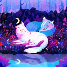 Electric Neon Illustrations of Fantasy Forests and the Majestic Beasts Within