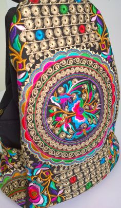 Ethnic Hmong Embroidered Backpack Rucksack Schoolbag от pasaboho. Fashion trend and styles from hippie chic, modern vintage, gypsy style, boho chic, hmong ethnic, street style, geometric and floral outfits. We Love boho style and embroidery stitches. Hippie girls with free spirit sharing woman outfit ideas and bohemian clothes, cute dresses and skirts.
