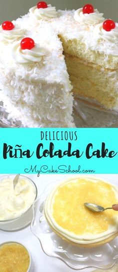 AMAZING Piña Colada Cake Recipe by MyCakeSchool.com! A heavenly blend of coconut, pineapple, and a hint of rum!