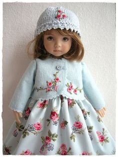 Baby Blue Embroidered Outfit for Little Darling - how stunning Charming makes me wish I had a doll to play with! Sewing Doll Clothes, Sewing Dolls, Girl Doll Clothes, Doll Clothes Patterns, Doll Patterns, Girl Dolls, Pretty Dolls, Cute Dolls, Beautiful Dolls