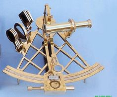 An old vernier sextant.  Beautiful! Measuring the Altitude and angles of the sun.  Similar instruments used for surveying geography.  The team approach having a group of friends make conversations that survey a persons character gently without making offence.